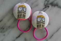 Big Ben pony tail holders make adorable party favors by Baby Raindrops, $5.95 at www.babyraindrops.com.