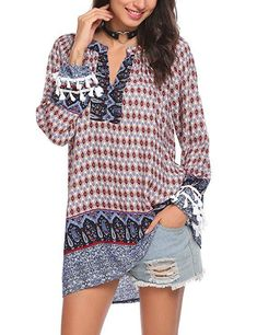 Latest Summer Fashion Trends Soteer Women's Long Sleeve Casual Tunic Blouse Boho Print Loose Shirt Tops / bohemian style tunic tops / Chic Fashion for Women Latest Summer Fashion, Womens Fashion Casual Summer, Summer Fashion Trends, Black Women Fashion, Women's Fashion, Hippie Fashion, Fashion Outfits, Hipster Outfits, Hipster Clothing