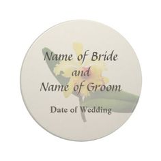 Pink Tipped Yellow Orchid Wedding Products Sandstone Coaster - save the date gifts personalize diy cyo
