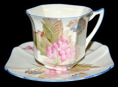 Shelley Hydrangea with Butterflies Demitasse Cup and Saucer Princess Shape