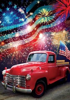 Patriotic Truck House Flag Let those colors fly! Vintage cherry-red truck is the grand finale of the parade as fireworks explode in the sky! House flag is printed with vibrant sublimated inks on soft polyester. American Flag Pictures, Patriotic Pictures, Country Trucks, Farm Trucks, Truck House, House Flags, God Bless America, Garden Flags, Diy Painting