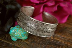 Heavy Vintage Nepalese Filigree Cuff Bracelet
