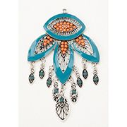 ConsumerCrafts Product Jewelry Making Pendant: Boho Floral Turquoise & Coral Pendant with Dangles