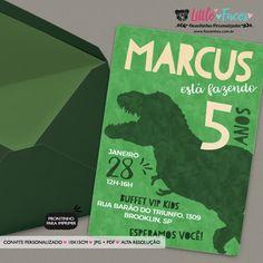 Convite Aniversário Tiranossauro Rex Dinossauro para imprimir