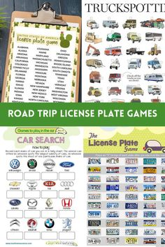 Travel Fun Printable License Plate Games - Peachy Party Road Trip Games, Road Trips, Summer Party Games, Family Reunion Games, Printable Board Games, Vacation Planner, Travel With Kids, Games For Kids, Spring Break