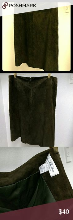 Gorgeous suede skirt!! Excellent condition, like new.  Fully lined.  Suede skirt size 12 from Brooks Brothers.  24 inches long. A little over 16 at waist. Brooks Brothers Skirts