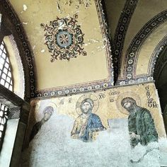The famous Deisis (Christ flanked by the Theotokos and St. John the Baptist) mosaic in the Church of Hagia Sophia Constantinople (Istanbul Turkey). This particular mosaic dates back to the 13th century. #liveorthodoxy