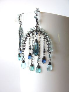 Blue Gemstone Oxidized Sterling Silver Dangle by MelanieMiljan,