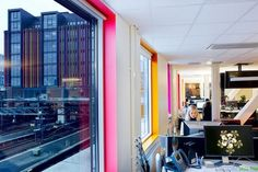 Office Design Pops of color around the window