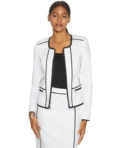 White House | Black Market The Piped Long Sleeve White and Black Jacket  #whbm
