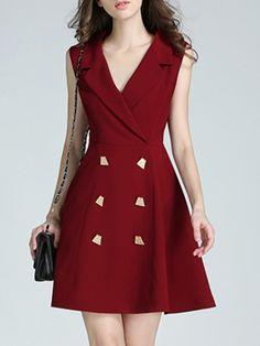 Vestido simple con escote V-Sheinside
