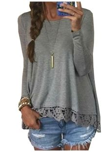 Hot Multi-colored Long Sleeve Lace T-Shirt