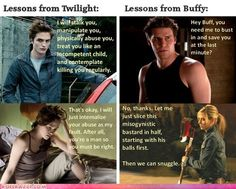 """Twilight"" vs ""Buffy"". So glad I grew up with Buffy and not Bella."