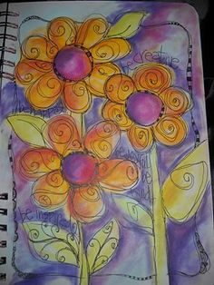 watercolor flower journal page