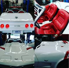 - 1979 Chevy Corvette Classic white on red showroom condition getting service at CRS Automotive   Classic White, Showroom, Chevy, Cars, Vehicles, Red, Shopping, Autos, Rouge