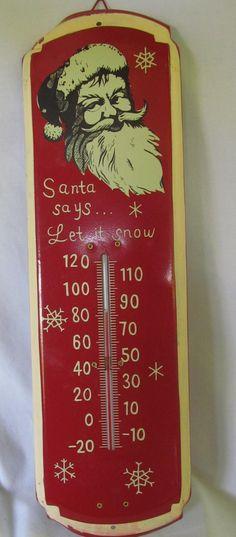 Tin Sign Santa Clause Tin Thermometer ReVintageLannie.Etsy.com