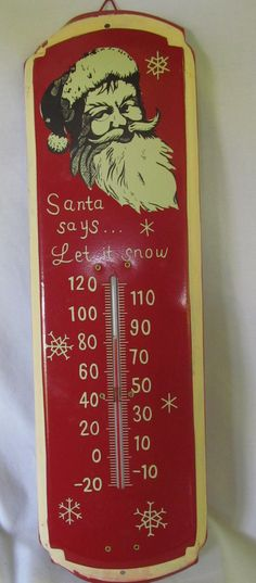 Tin Sign Santa Clause Tin Thermometer ReVintageLannie.Etsy.com