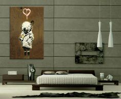 """iCanvasART Banksy (Reproduction) Space Girl and Bird Canvas Art Print Poster #2030 19""""x13"""" (1.5"""" Deep)"""