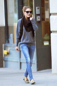 celebrities y shopping de mocasines y slippers: Olivia Palermo