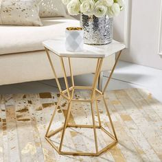 Next Post Previous Post Candelabra Home Hexagonal Marble Table Hexagonal Marble Top Accent Table with Gold Base Materials: Marble/Metal Next. Marble Top End Tables, Brass Side Table, Side Tables, Dining Tables, Marble Furniture, Furniture Design, Home Accessories, Living Room Decor, Interior Design