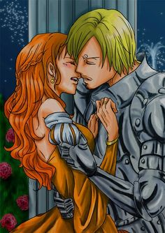 One Piece medieval Nami and Sanji One Piece