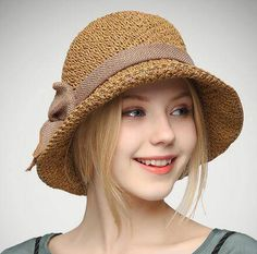eda22b7d33398 Coffee straw sun hat with bow for women packable bucket hats UV Summer Hats