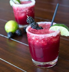 Skinny Blackberry Margaritas This looks good, with or without the tequila.