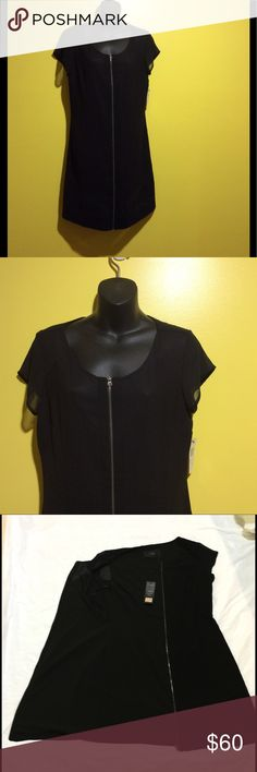 All black two way zipper front Cenia N.Y. Dress Round share neckline; two-way zip front. Short sleeves. Sheath silhouette. Hem hits at the knee. Cotton/nylon/spandex; machine wash. Cenia New York  Dresses Midi