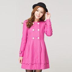 Korean Fashion Sweet Slim Woolen Coat