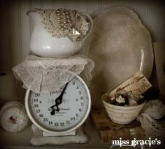 ironstone with vintage scales...love