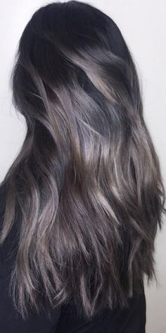Love the grey with dark brunette, blonde highlights. silver and dark brunette hair color
