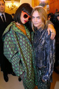 Rihanna and Cara Delevingne backstage at Stella McCartney's F/W 14 show, both wearing the designer.
