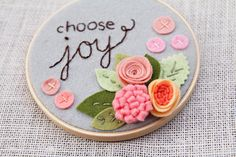 Embroidery Hoop Art - Inspiring Wall Art - Nursery Decor - Coral Grey Peach - Felt Hoop Art - CHOOSE JOY