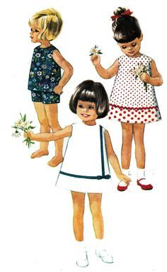 Vintage Girls Pattern McCalls 7783 Dress or Top and Shorts Size 3 Breast 22 inches Vintage Kids Fashion, Vintage Kids Clothes, Vintage Girls Dresses, Vintage Children, Childrens Sewing Patterns, Mccalls Patterns, Sewing For Kids, Vintage Sewing Patterns, Patron Vintage
