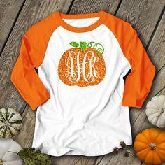 Pumpkin monogram glitter sparkly monogrammed pumpkin personalized teacher fall halloween shirt monogram unisex raglan shirt - Fall Shirts - Ideas of Fall Shirts - Monogram T Shirts, Vinyl Monogram, Vinyl Shirts, Custom Shirts, Monogram Hats, Diy Halloween Shirts, Fall Halloween, Halloween Parties, Festival T-shirts