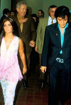 Elvis and Priscilla Presley in Las Vegas International Hotel for Barbra Streisand's concert, August 29, 1969.