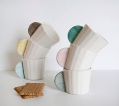 Ceramic Coffee Cups Set of 6 in different colors: pink, mint, gray, yellow, black and blue via Etsy House Design Photos, Cool House Designs, Ceramic Pottery, Ceramic Art, Cerámica Ideas, Coffee Cup Set, Coffee Mugs, Ceramic Coffee Cups, Deco Design