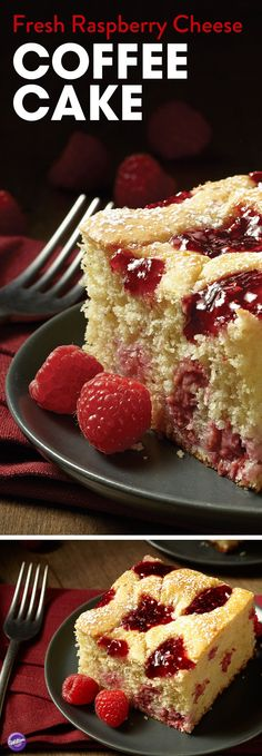Fresh Raspberry Cheese Coffee Cake Recipe - Learn how to dress up this cheese coffee cake dessert with dollops of fresh raspberries and raspberry preserves. This simple to make coffee cake can be served for breakfast, at showers and parties, or when guests drop in for a visit.