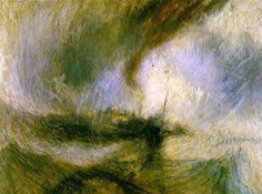 Titel: Sneeuwstorm op zee Kunstenaar: Joseph Mallord William Turner Datum: 1842 Materiaal: Olieverf op doek Museum: Tate Gallery, London Stroming: Romantiek