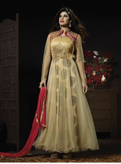 Beige with Red Shades Floor Length Anarkali Suit
