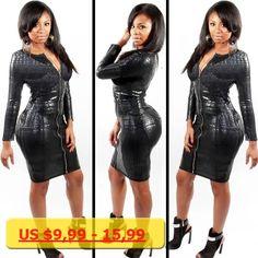 Fashion Women Faux Leather Bodycon Dress Ladies PU Snake Dress Long Sleeve Sexy Party Womens V Neck Party Clubwear Dress