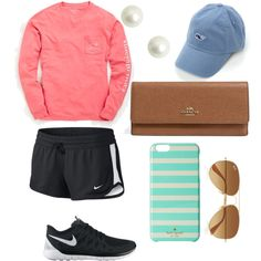 Running errands- preppy style by swrightcanada on Polyvore featuring polyvore, fashion, style, Vineyard Vines, NIKE, Coach, Ray-Ban and Kate Spade