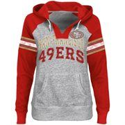 San Francisco 49ers Ladies Huddle V-Neck Hoodie - Steel/Scarlet