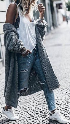 #winter #fashion /  Grey Maxi Cardigan + White Top + White Sneakers