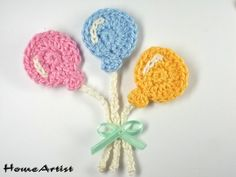 Balloons Crochet Applique Embellishments inspiration for cards and gift tags Cute Crochet, Crochet Motif, Crochet Crafts, Crochet Flowers, Crochet Stitches, Crochet Projects, Crochet Patterns, Crochet Appliques, Crochet Amigurumi