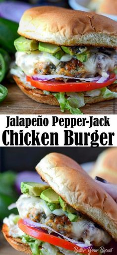 Jalapeno Pepper Jack Chicken Burger-Butter Your Biscuit - - Jalapeno Pepper jack Chicken Burger is juicy, bursting with flavor. A great twist on burger night. Grilled Chicken Burgers, Ground Chicken Burgers, Beef Burgers, Veggie Burgers, Grilling Burgers, Burger Food, Gourmet Burgers, Jalapeno Burger, Stuffed Jalapeno Peppers
