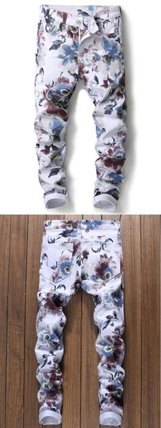 Zipper Fly Florals Print Skinny Jeans