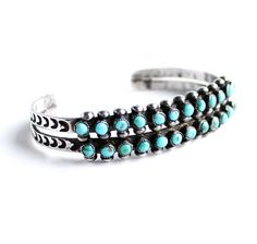 Vintage Sterling Silver Turquoise Cuff Bracelet Native American Jewelry by MaejeanVINTAGE, $50.00