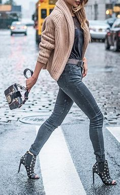 #fall #outfits · Wool Jacket // Grey Skinny Jeans // Pumps