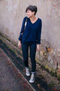 navy blue sweater and converse.  My uniform when I retire.  So cute, simple and elegant!